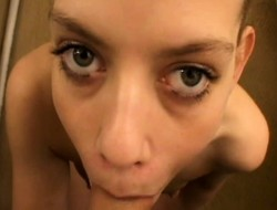 Amber Lee is chewing on his non-natural bumpy in POV with the addition of gets cum on her