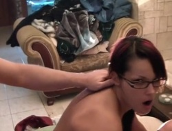 Homemade party fuck of a dirty slut in glasses