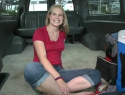 Blonde Payton Renee with small breasts shows withdraw her crown while well-known tugjob