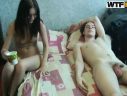 Young amateurs Alsa, Marusia and Yolly with sexy slim bodies to the buff and have aphrodisiac licking sessions