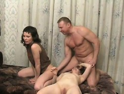 Two licentious girls hook be awarded pounce on a hung stud for an ravishing triune