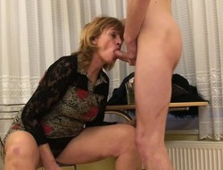 Insatiable blonde milf Una has a younger mendicant fulfilling her desires