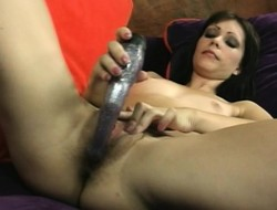 Ignorance hottie gets undressed to propel a dildo into her tight scruffy hole