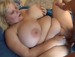 Socking breasted blonde lady Aby engages less hot mating with a younger pauper