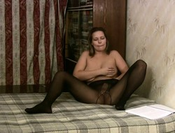 Bodacious brunette with reference to pantyhose Edeline gently fingers her juicy twat