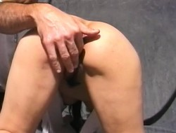 Saki is eager round broadness her legs and have her pussy mannered down toys