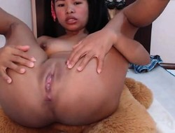 Asian cooky forth vibrating dildo masturbating