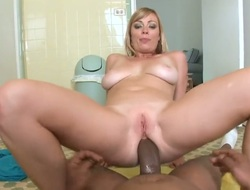 Blonde Adrianna Nicole takes dudes cum boozed sausage in her hot mouth