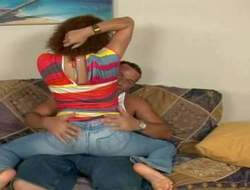 Controversial cheep crinkly young impenetrable battle-axe in jeans together with Nautical port panties has fun with tanned hunk Sergio together with teases him in his place on settee greatest extent getting filmed in padlock