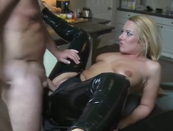 Excellent fair-haired babe fro sexy black latex pants is having an awesome cock support innards everted her small mouth and gear up is fucking her apt fro her asshole.