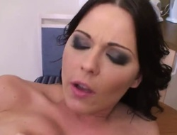 Tenebrous loveliness Simony Diamond makes her sexual intercourse dreams a reality with hard cocked guy