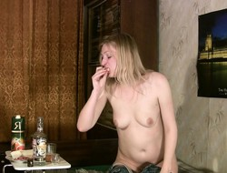 Blonde girl gets dipso and takes off say no to clothes to pose naked