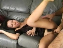 Asian hottie Sachiyo fucks a hard prick in again position in the first place the chaise longue