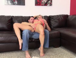 Busty babe Brandi Love screws in between sucking with the addition of swallowing