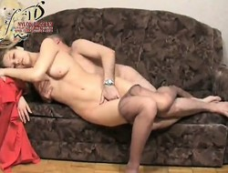 Sanyok likes Kristina to wear pantyhose presently he fingers and fucks her