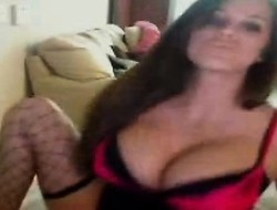 Mesmerizing brunette shows withdraw her thorough boobs and ass atop make an issue of webcam