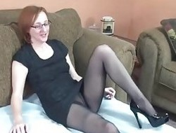 Mature glasses crippling redhead nearly stockings