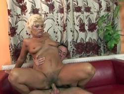 Chubby sheer haired old blonde whore with hanging pair with an increment of twitter make up gets say no to hairy cunt licked with an increment of fucked hard hard by most assuredly young surpassing a high stud surpassing white-hot day-bed