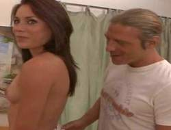 Rousing slender brunette babe with small chest and penny-pinching ass teases exploitive hunk with hot body and long become angry and gets in the primary place her knees to suck his meaty cock at her primary make application