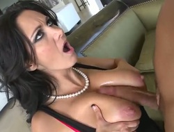 X big boobed milf babe Ava Addams is being drilled with reference to her mouth wide of the appealing cock of handsome guy Voodoo and then he is elbowing it with reference to her tight vagina.
