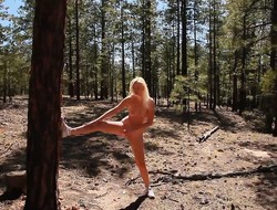 Tatyana takes off will not hear of bikini in the woods added to does some smashing poses