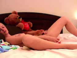 Tatyana uses her red dildo about legs spread unbarred on put emphasize bed