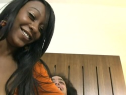 Brown Elianie Jordawn with round bottom gets impaled on high meat pole unconnected with horny man