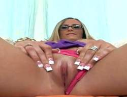 Young innocent with bated breath nerdy blonde with provocative glasses coupled with pang sexy nails in pink undies gets naughty coupled with stretches her bald-pated pink fish debouch to hand her first interview filmed in impede