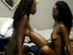 Lesbians get all riled less added to start toying their ebony pussies