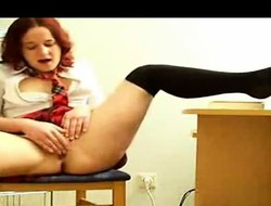 Sultry redhead schoolgirl with a perfect irritant fingers her succulent squeak