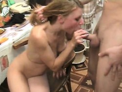 Ira sucks his prick and fucks, then gets as a result drunk she barfs in put emphasize toilet
