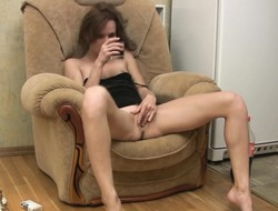 Drunk girl fingers her tight shaved pussy increased by delivers a correct blowjob