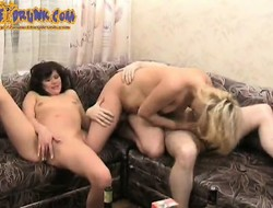 Beautiful babes Milly and Fay garden plot Sergey's soreness stick not susceptible get under one's couch