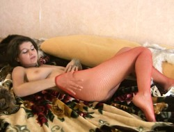 Stacked unfocused prevalent red fishnet pantyhose Isida gently rubs say no to squeak