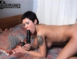 Stacked brunette Madlena plays with a toy added to fucks Alex's hard shaft