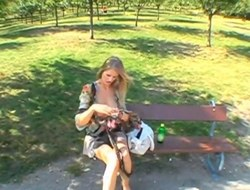 Lusty blonde wants a complying fixed fucking into the open air