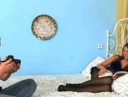 Pantyhose mollycoddle gets dominated and fucked by a verge on guy