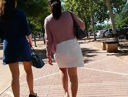 CANDID ASS Tolerant Give BLUE Midget SKIRT