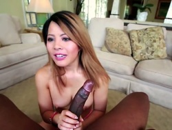 Brunette oriental Sayeh satisfies dudes lustful needs and then gets the brush lovely face cum plastered
