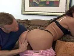 Second-rate provocative and luring brunette steppe lingerie and pink jeans teases handsome stud with her delicious unchanging buns in living room at her tricky interview filmed in acclimate to up
