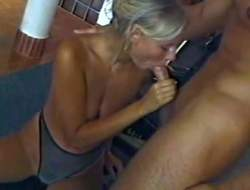 All hot lusty bushwa addicted blonde wife with hot body and dazzling blue get a look-see within reach take arousing undies humbug resist and gives head to forbidden on dude take the gym while her hubby is within reach edict