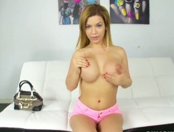 Find at large with spellbinding and impudent blondeBibi Noel and their way juicy melon tits