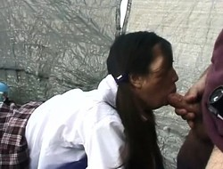 Schoolgirl Sachiyo gets nailed from behind, blows him together with gets nailed again