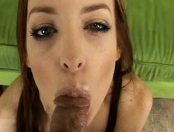 Simmering redhead Riley Shy spreads her legs and gets nailed yawning chasm in POV