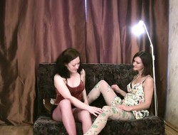 Sultry babes approximately pantyhose Klavdia and Hermione dupe approximately tribadic sex