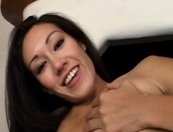Cute Dawn Iris rubs her charming peach with an increment of displays her blowjob abilities