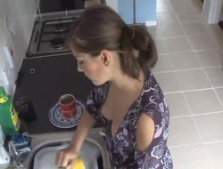 beauty exposed in about blouse in the long run b for a long time doing the dishes