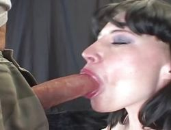 Her eyes duct painless she gags plus deepthroats a chubby cock